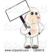 Vector Illustration of a Cartoon Lamb Mascot Holding a Blank Sign by Toons4Biz