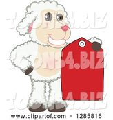 Vector Illustration of a Cartoon Lamb Mascot Holding a Red Clearance Sales Tag by Toons4Biz