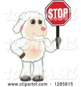 Vector Illustration of a Cartoon Lamb Mascot Holding a Stop Sign by Toons4Biz