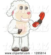 Vector Illustration of a Cartoon Lamb Mascot Holding a Telephone Receiver by Toons4Biz