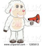 Vector Illustration of a Cartoon Lamb Mascot Holding an Announcement Megaphone by Toons4Biz