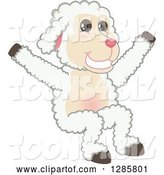 Vector Illustration of a Cartoon Lamb Mascot Jumping by Toons4Biz