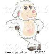 Vector Illustration of a Cartoon Lamb Mascot Leaning by Toons4Biz