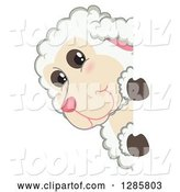 Vector Illustration of a Cartoon Lamb Mascot Looking Around a Sign by Toons4Biz