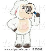 Vector Illustration of a Cartoon Lamb Mascot Looking Through a Magnifying Glass by Toons4Biz