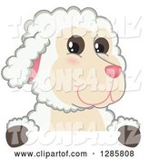 Vector Illustration of a Cartoon Lamb Mascot over a Sign by Toons4Biz