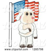 Vector Illustration of a Cartoon Lamb Mascot Pledging Allegiance to an American Flag by Toons4Biz