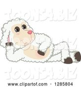 Vector Illustration of a Cartoon Lamb Mascot Resting on His Side by Toons4Biz