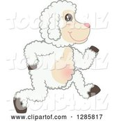 Vector Illustration of a Cartoon Lamb Mascot Running to the Right by Toons4Biz