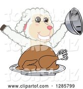 Vector Illustration of a Cartoon Lamb Mascot Serving a Roasted Thanksgiving Turkey by Toons4Biz
