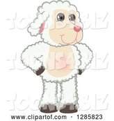 Vector Illustration of a Cartoon Lamb Mascot Standing with Hands on His Hips by Toons4Biz