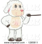 Vector Illustration of a Cartoon Lamb Mascot Using a Pointer Stick by Toons4Biz