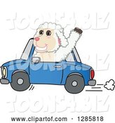 Vector Illustration of a Cartoon Lamb Mascot Waving and Driving a Blue Car by Toons4Biz