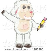 Vector Illustration of a Cartoon Lamb Mascot Waving and Holding a Pencil by Toons4Biz