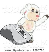 Vector Illustration of a Cartoon Lamb Mascot Waving by a Giant Computer Mouse by Toons4Biz