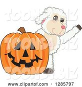 Vector Illustration of a Cartoon Lamb Mascot Waving by a Giant Halloween Jackolantern Pumpkin by Toons4Biz