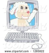 Vector Illustration of a Cartoon Lamb Mascot Waving from a Computer Screen by Toons4Biz