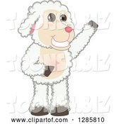 Vector Illustration of a Cartoon Lamb Mascot Waving or Presenting by Toons4Biz
