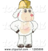 Vector Illustration of a Cartoon Lamb Mascot Wearing a Hardhat by Toons4Biz