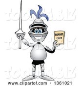 Vector Illustration of a Cartoon Lancer Mascot Student Holding up a Lance and a Report Card by Toons4Biz
