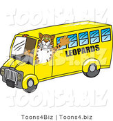 Vector Illustration of a Cartoon Leopard Mascot Driving a Bus by Toons4Biz