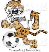 Vector Illustration of a Cartoon Leopard Mascot Playing Soccer by Toons4Biz