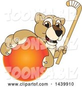 Vector Illustration of a Cartoon Lion Cub School Mascot Grabbing a Hockey Ball and Holding a Stick by Toons4Biz