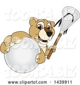 Vector Illustration of a Cartoon Lion Cub School Mascot Grabbing a Lacrosse Ball and Holding a Stick by Toons4Biz