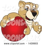 Vector Illustration of a Cartoon Lion Cub School Mascot Grabbing a Red Ball by Toons4Biz