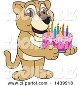 Vector Illustration of a Cartoon Lion Cub School Mascot Holding a Birthday Cake by Toons4Biz