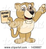 Vector Illustration of a Cartoon Lion Cub School Mascot Holding a Report Card by Toons4Biz