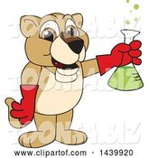 Vector Illustration of a Cartoon Lion Cub School Mascot Holding a Science Flask by Toons4Biz