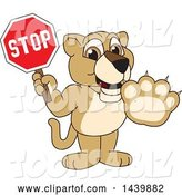 Vector Illustration of a Cartoon Lion Cub School Mascot Holding a Stop Sign by Toons4Biz