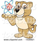 Vector Illustration of a Cartoon Lion Cub School Mascot Holding an Atom by Toons4Biz