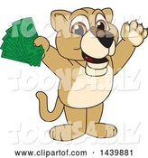 Vector Illustration of a Cartoon Lion Cub School Mascot Holding Cash Money by Toons4Biz