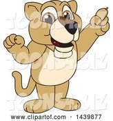 Vector Illustration of a Cartoon Lion Cub School Mascot Holding up a Finger by Toons4Biz