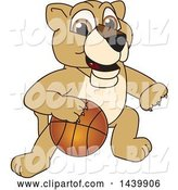 Vector Illustration of a Cartoon Lion Cub School Mascot Playing Basketball by Toons4Biz