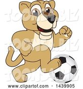 Vector Illustration of a Cartoon Lion Cub School Mascot Playing Soccer by Toons4Biz