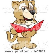 Vector Illustration of a Cartoon Lion Cub School Mascot Reading a Book by Toons4Biz