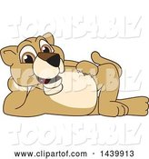 Vector Illustration of a Cartoon Lion Cub School Mascot Resting on His Side by Toons4Biz