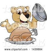 Vector Illustration of a Cartoon Lion Cub School Mascot Serving a Roasted Thanksgiving Turkey by Toons4Biz