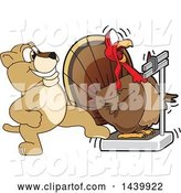Vector Illustration of a Cartoon Lion Cub School Mascot Stepping on a Scale While a Turkey Is Weighing Himself by Toons4Biz
