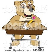 Vector Illustration of a Cartoon Lion Cub School Mascot Taking a Quiz by Toons4Biz