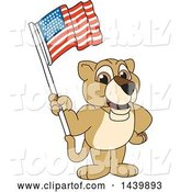Vector Illustration of a Cartoon Lion Cub School Mascot Waving an American Flag by Toons4Biz