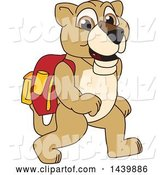 Vector Illustration of a Cartoon Lion Cub School Mascot Wearing a Backpack by Toons4Biz