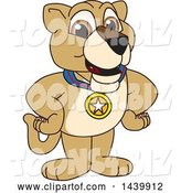 Vector Illustration of a Cartoon Lion Cub School Mascot Wearing a Sports Medal by Toons4Biz