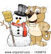 Vector Illustration of a Cartoon Lion Cub School Mascot with a Snowman by Toons4Biz