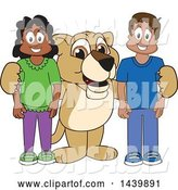 Vector Illustration of a Cartoon Lion Cub School Mascot with Happy Students by Toons4Biz