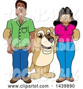 Vector Illustration of a Cartoon Lion Cub School Mascot with Happy Teachers or Parents by Toons4Biz