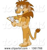 Vector Illustration of a Cartoon Lion Mascot Completing a to Do List, Symbolizing Being Dependable by Toons4Biz